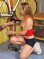 Tabitha Distorts and Teases Shaved Pussy with Bike Pump