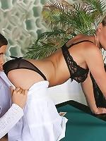 Hot lesbians dildo on poker table