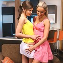 Paula and Caprice - Gorgeous teens strip and eat pussy