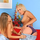 Avril and Rikki - Slender hotties undress and dildo