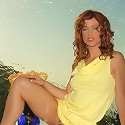 Cute blue eyed Riley Shy stripping her yellow dress shows off her luscious tight body