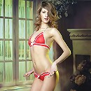 Skinny and tall beautiful girl removing her red tiny bikini