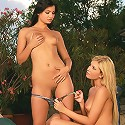 Dona and Angelina - Gorgeous vixens kiss and embrace