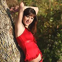 Zemani.com Nansy - Nice teenage girl with very beautiful breast takes off her red top and panties outdoor